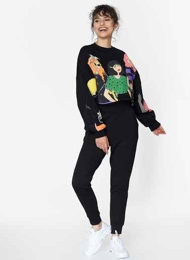 Loves You Baskılı Şardonlu Crop Sweatshirt Siyah